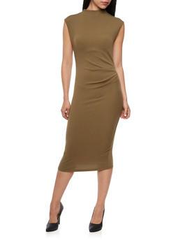 Midi Dress with Cap Sleeves - 3094058750070