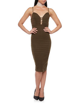 Lattice Front Bandage Midi Dress - 3094058750071