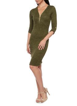 Space Dye Knit Dress with Zip Neckline - 3094058750072