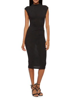 Sleeveless Dress with Gathered Waist - BLACK - 3094058750073
