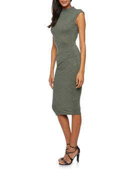 Rib Knit Sleeveless Midi Dress with Gathered Waist - 3094058750073