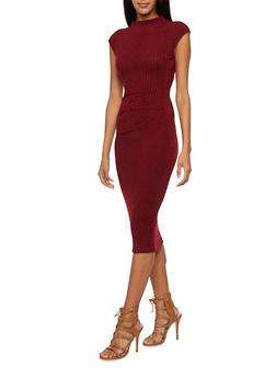 Sleeveless Dress with Gathered Waist - 3094058750073