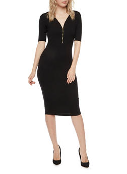 Ribbed Midi Dress with Zip Neckline - BLACK - 3094058750074