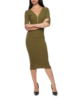 Ribbed Midi Dress with Zip Neckline - 3094058750074