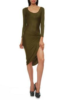 Solid Long Sleeve Side Knot Maxi Dress,OLIVE,medium