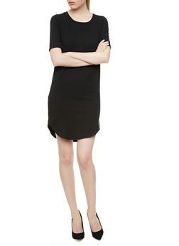 Solid Short Sleeve Shift Dress With Curved Hem,BLACK,medium