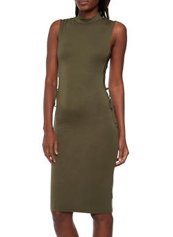 Soft Knit Bodycon Dress with Lace Up Sides - OLIVE - 3094058750842