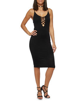 Lace Up Midi Dress with Spaghetti Straps - 3094058750849