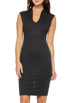V-Neck Cap Sleeve Midi Dress - 3094058751258