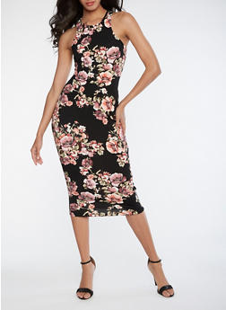 Floral Soft Knit Bodycon Dress - 3094058751264