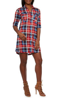Plaid Shirt Dress with Fixed Cuff Sleeves - 3094058751443