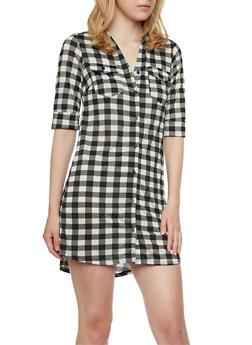 Gingham Print Button-Down Dress - 3094058751447