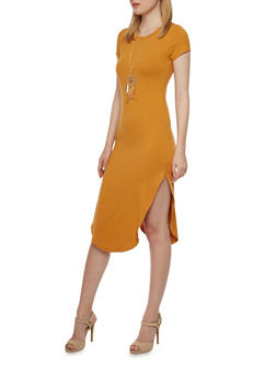 Midi Dress with Necklace - 3094058751448
