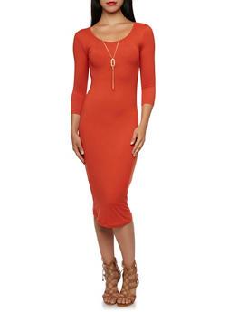 Bodycon Midi Dress with Necklace - 3094058751450