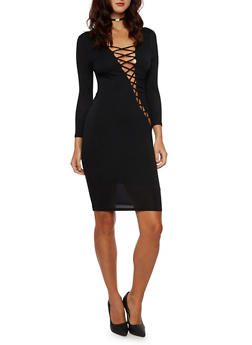 Bodycon Dress with Lace Up Front - 3094058751451