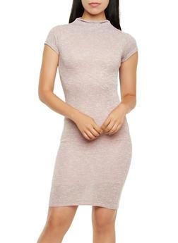 Tri-Color Knit Midi Dress with Mock Neck - 3094058751520