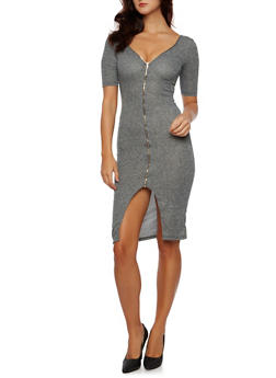 Zippered Dress in Ribbed Knit - 3094058751530