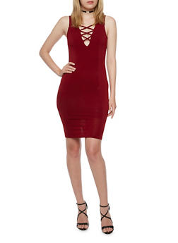 Sleeveless Lace Up Bodycon Dress - 3094058751617