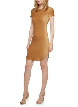 Stretch Velvet Mini Dress with Short Sleeves - 3094058751642