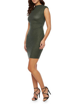 Rib Knit Bodycon Dress with Ruched Front - 3094058751651