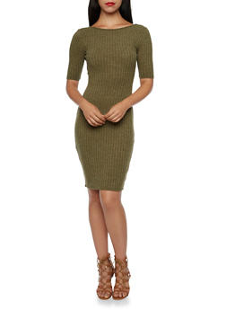 Rib Knit Dress with Plunging Scoop Back - 3094058751652