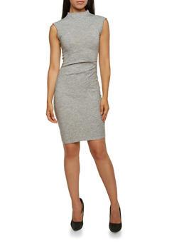 Knit Dress with Gathered Waist - 3094058751660