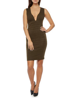 Sleeveless Bandage Dress with Plunging Neckline - 3094058751772
