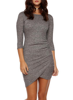 Marled Knit Dress with Fixed Wrap Front - 3094058751786