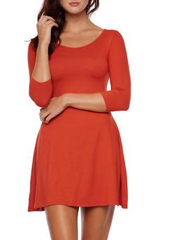 Swing Dress in Brushed Knit - 3094058751862