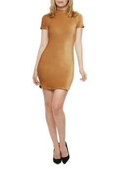 Mock Neck Stretch Velvet Mini Dress - 3094058751863