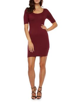 Bodycon Mini Dress with Crisscross Back - 3094058751910