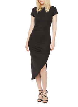 Ruched Midi Dress with Asymmetrical Hem - BLACK - 3094058752028