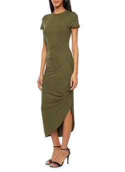 Ruched T Shirt Dress with Asymmetrical Hem - 3094058752028