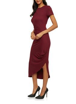 Ruched Midi Dress with Asymmetrical Hem - 3094058752028