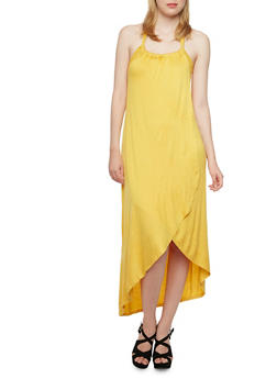 Halter Dress with Fixed Draped Paneling - 3094058752044
