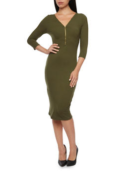 Bodycon Dress with Zip V Neck - 3094058752050