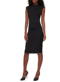 Bodycon Midi Dress with Shirred Side - BLACK - 3094058752052