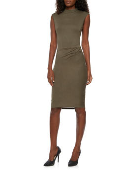Mid Length Sleeveless Bodycon Dress with Ruched Detail - 3094058752052