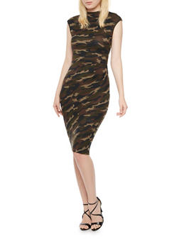 Camo Bodycon Dress with Ruching - 3094058752053