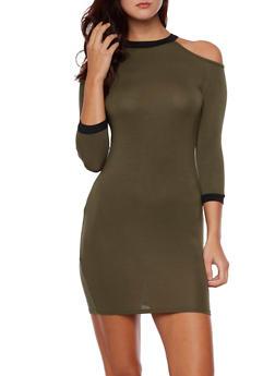 Cold Shoulder Dress with Contrast Trim - 3094058752054