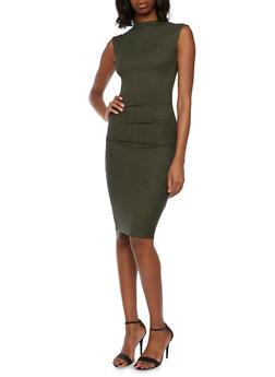 Rib Knit Midi Dress - OLIVE - 3094058752056