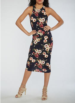 Floral Midi Bodycon Dress - 3094058752141
