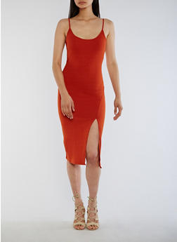 Ribbed Knit Bodycon Dress with Side Slit - 3094058752600