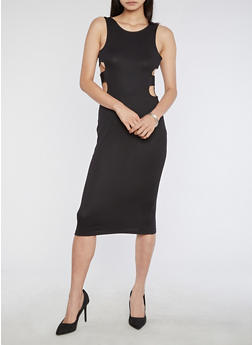Ribbed Knit Open Elastic Sides Bodycon Dress - BLACK - 3094058752751