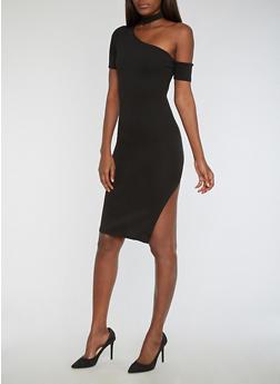 Textured Knit One Shoulder Choker Neck Bodycon Dress - BLACK - 3094058752924