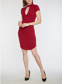 Short Sleeve Ribbed Knit Choker Neck Dress - 3094058753032