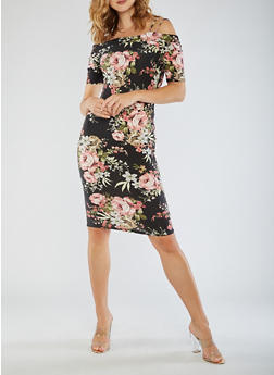 Cold Shoulder Floral Midi Dress - 3094058753033