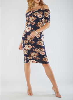 Cold Shoulder Floral Midi Dress - 3094058753035