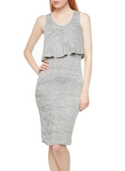 Sleeveless Layered Marled Knit Dress,GRAY,medium