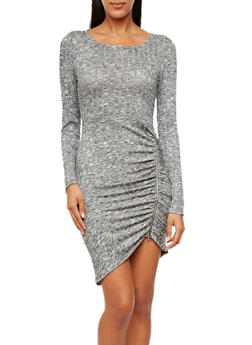 Long Sleeve Bodycon Sweater Dress with Ruching and Lace Details,GRAY,medium